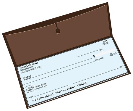 personal banking: Libretto degli assegni in pelle con una tasca per memorizzare copie di assegni. Vettoriali