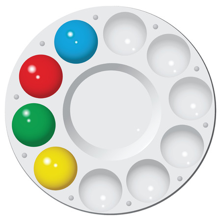 Round plastic palette with water color. Vector illustration.