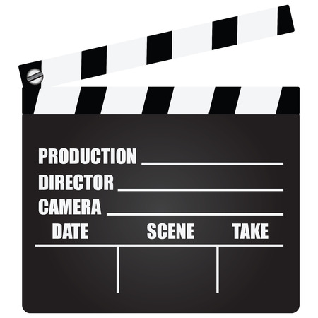 action movie: Clapperboard with an information field for shooting movies.  Illustration