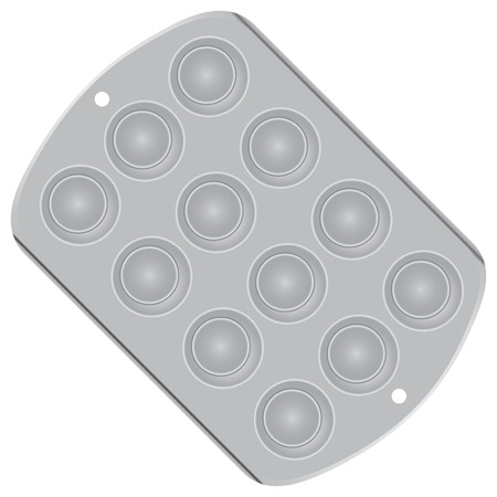 Steel pan for baking mini muffins. Vector