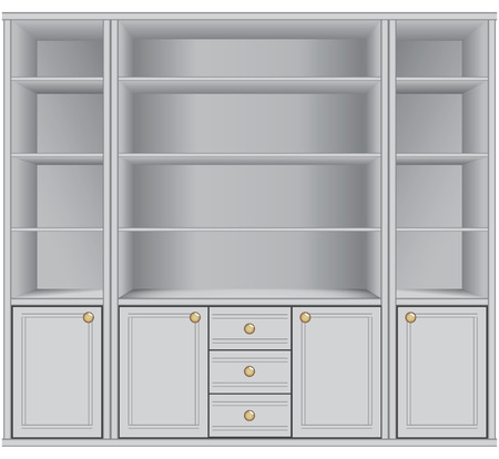storage: Multifunctional cabinet with shelves for storage.  Illustration