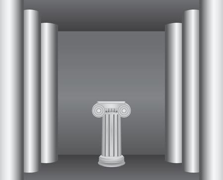 Classical ancient columns in the interior - a pedestal.  Ilustração