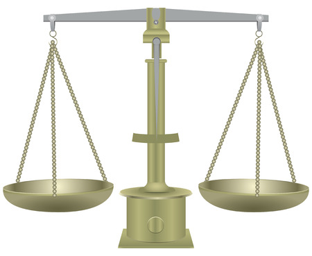 trial balance: Old balance scale with two plates.