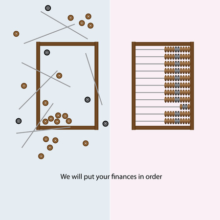 sums: We will put your finances in order wooden abacus. Vector illustration.