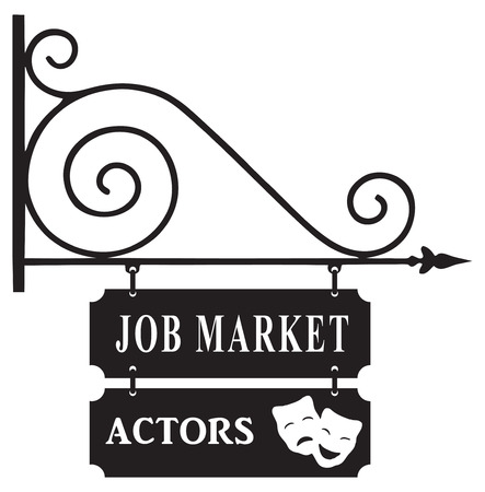 old sign: Street sign for the labor market actors. Vector illustration.