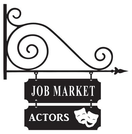 labor market: Street sign for the labor market actors. Vector illustration.