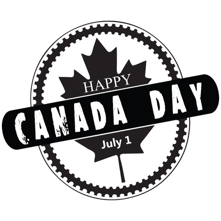 Creative stamp for the celebration of Canada Day July first. Vector illustration. Illustration