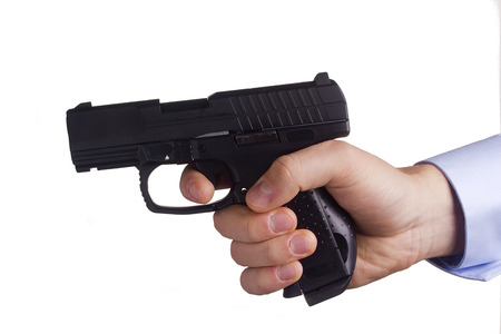 bb gun: Man threatened with a gun. Control of Firearms. Stock Photo