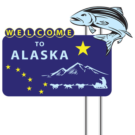 sledge dog: Stand Welcome to Alaska with the symbols of the State. Vector illustration.
