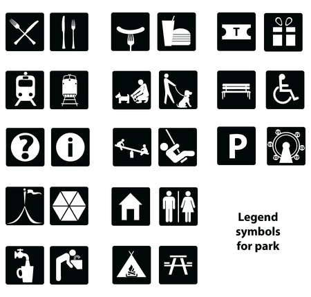 Cartographic symbols in the park.