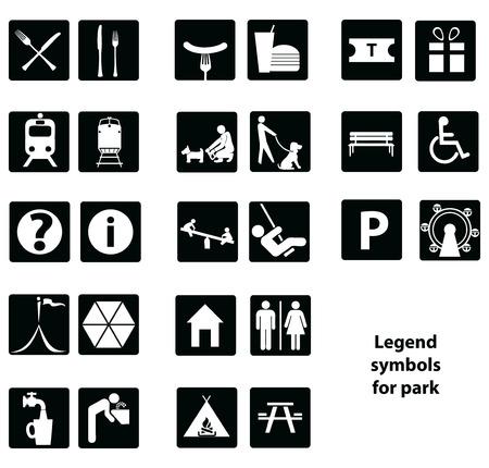 Cartographic symbols in the park.