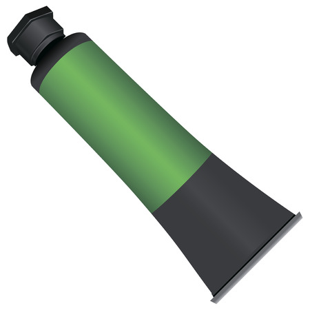 Industrial tube of paint in a metal casing.