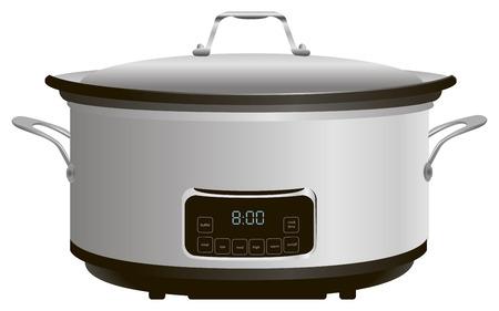 Programmeerbare elektrische pan voor het koken. Stock Illustratie