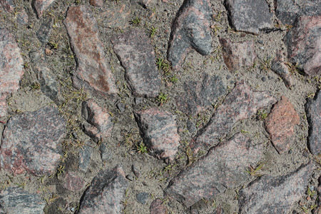 the road surface: Plot road surface of rough stones. Secondary roads.