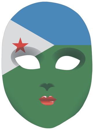 statehood: Classic mask with symbols of statehood of Djibouti. Vector illustration