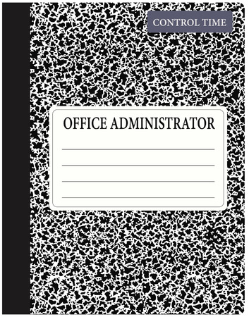 Book office administrator control of time. Vector illustration.