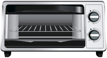 Modern toaster oven with glass door. Vector illustration. Ilustracja