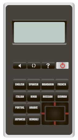 別に 1 つの言語から翻訳する電子デバイス。ベクトルの図。