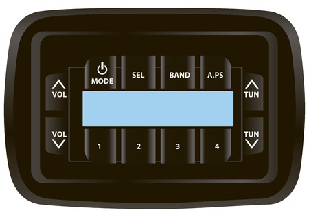 Panel stereo receiver with control buttons and a digital screen. Vector illustration.