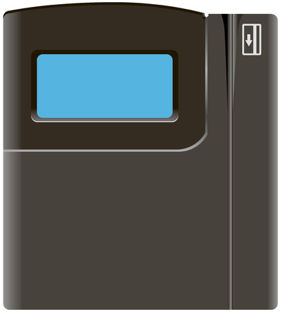 Automated swipe card Time, clock system. Vector illustration.