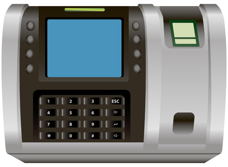 security monitor: Combination lock with fingerprint scanner. Vector illustration.