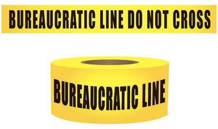 Restrictive yellow ribbon prohibiting passage bureaucratic line do not cross. Vector illustration.