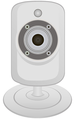 web cam: Miniature video camera for capturing and transmitting information. Vector illustration. Illustration
