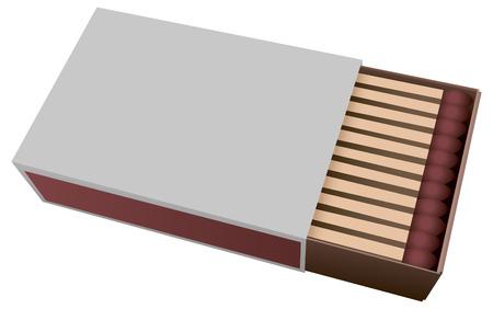 caja de cerillas: Caja de cart�n abierta con f�sforos. Ilustraci�n del vector.