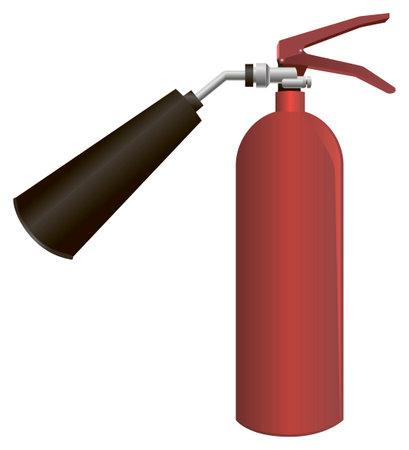 Carbon dioxide fire extinguisher for industrial use. when fighting fires. Vector illustration. Ilustração