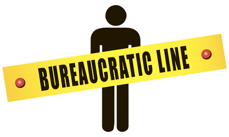 bureaucratic: Subject bureaucratic relationship to the person. Vector illustration. Illustration