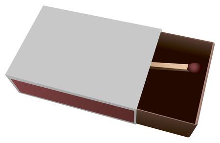 caja de cerillas: Abra las cajas de cart�n con un partido. Ilustraci�n del vector.