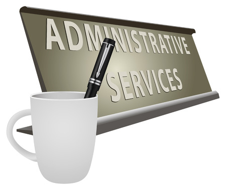 departmental: Table plate office for Administrative Services. Vector illustration. Illustration