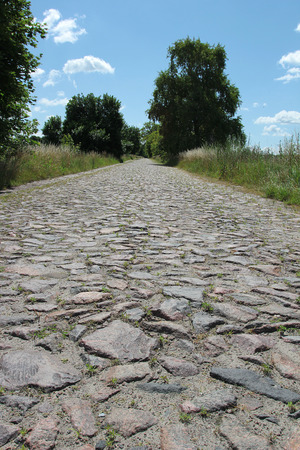 Plot road surface of rough stones. Rural road.