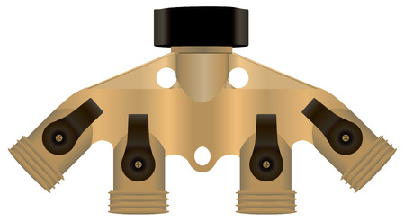 shut off: Brass collector for connecting hoses. Vector illustration. Illustration