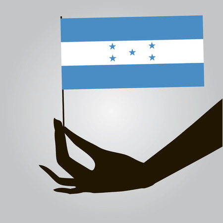 Flag of Honduras in a female hand. Vector illustration.