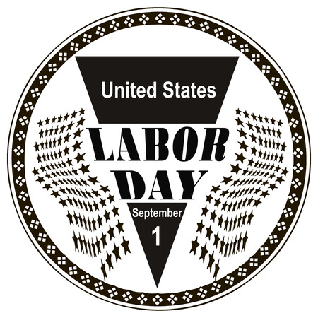 Stamp Labor Day in the United States the first of September. Vector illustration. Vector