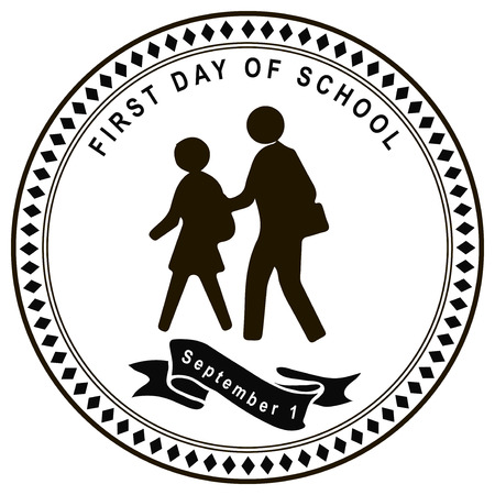 first day: September 1 stamp first day of school. Vector illustration.