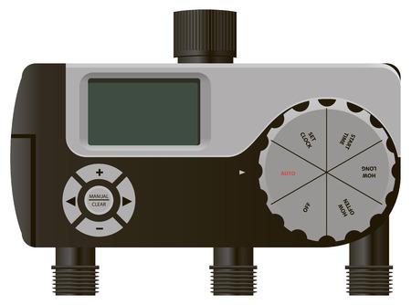 spattering: Three-Output Digital Watering Timer with regulator. Vector illustration.