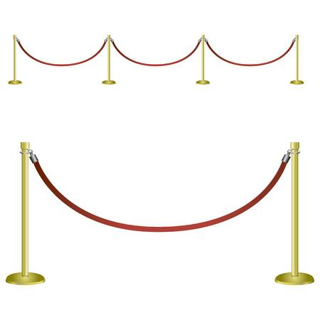 Restrictive barrier for social and festive events. Vector illustration.