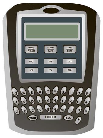 folding screens: Electronic pocket translator for individual use. Vector illustration.