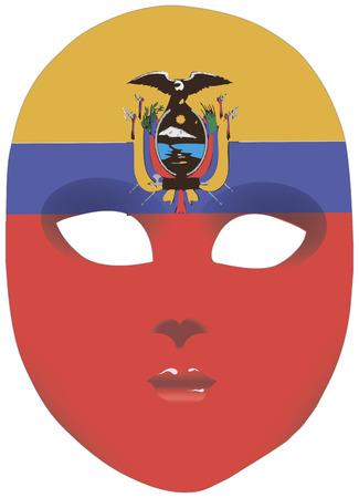statehood: Classic mask with symbols of statehood of Ecuador.