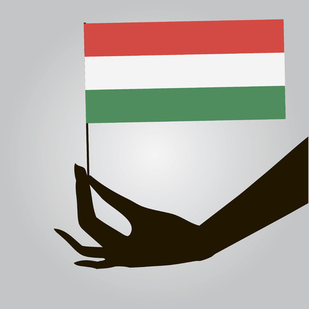 Flag of Hungary in a female hand. Vector illustration.