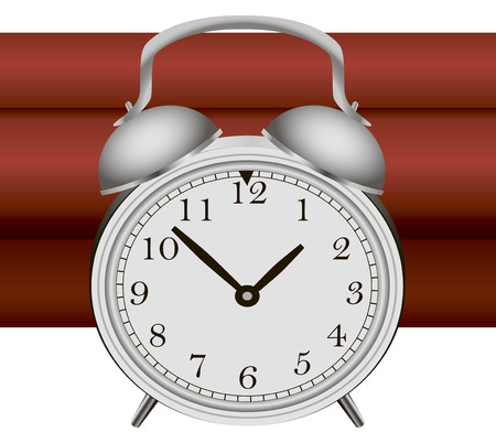sabotage: Time bomb with alarm clock detonator. Vector illustration. Illustration