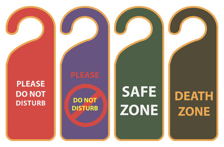 hangers: Set warnings for door handle. Vector illustration.