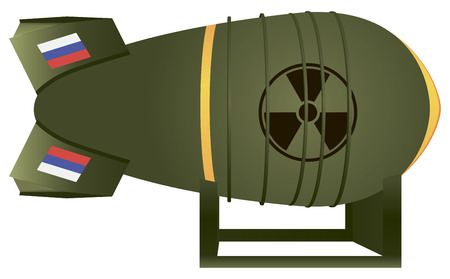 atomic bomb: Russian aviation atomic bomb thermonuclear strike. Vector illustration.