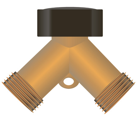 The water splitter to connect a garden hose in the garden. Vector illustration.