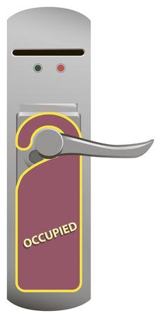occupied: Warning on the door knob Occupied. Vector illustration.