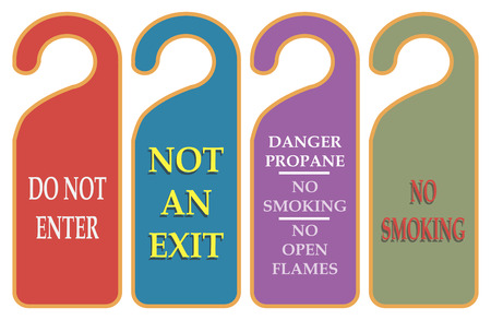 prohibiting: Prohibiting a warning on the door handle. Vector illustration.