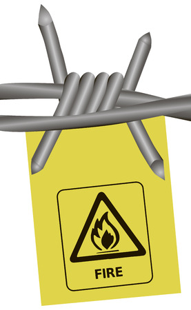 stockade: Warning of fire with barbed wire. Vector illustration.