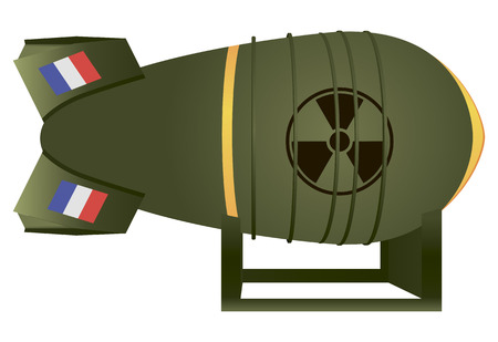 atomic bomb: Aviation atomic bomb France for nuclear war. Vector illustration.